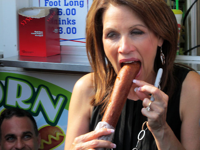 michelle bachmann deep throating a corn dog