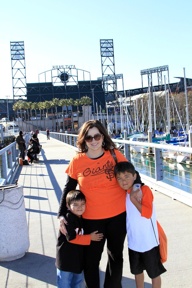 mom and the boys at giants fan day 2013