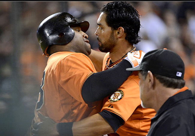 Pablo Sandoval and Angel Pagan are a little close